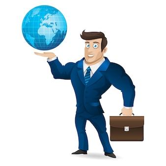 Ilustração, empresário segurando uma pasta e um globo, formato eps 10