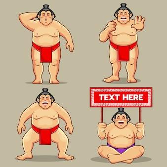 Ilustração engraçada da mascote do conjunto de sumô
