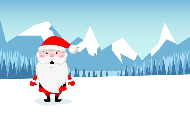 Ilustração engraçada da paisagem de papai noel e de montanha do inverno.