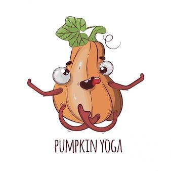 Ilustração engraçada de halloween dos desenhos animados de pumpkin yoga