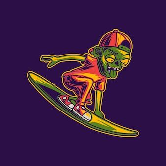Ilustração engraçada de zumbis surfando