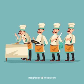 Ilustração engraçada do cozinheiro chefe que cria um menu