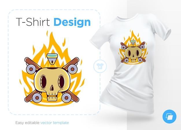 Ilustração engraçada do esqueleto do skatista para o design da camiseta
