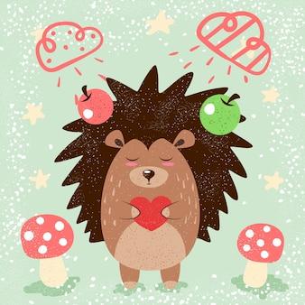 Ilustração engraçada do ouriço dos desenhos animados para o t-shirt da cópia.