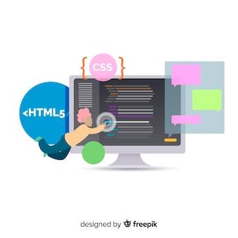 Ilustração engraçada do programador trabalhando