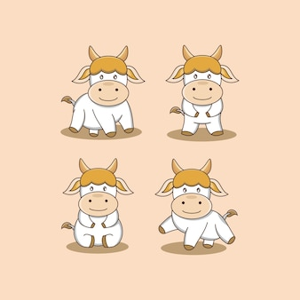 Ilustração engraçada dos desenhos animados da vaca pequena cenografia do animal gráfico do vetor logotipo da mascote sinal de personagem