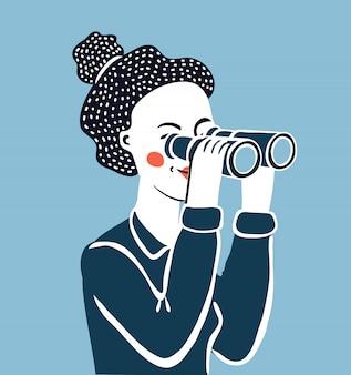 Ilustração engraçada dos desenhos animados de mulher olhando através de binóculos