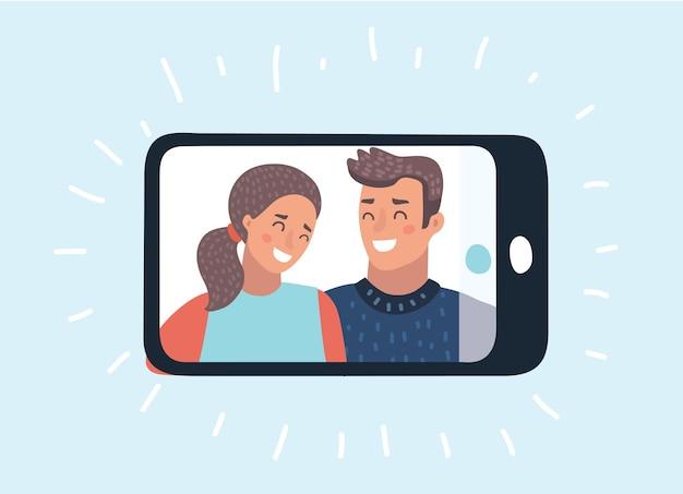 Ilustração engraçada dos desenhos animados de vetor de tirar selfie no smartphone sobre fundo azul. jovem casal tirando foto de selfie junto com o telefone celular. objeto em fundo isolado.