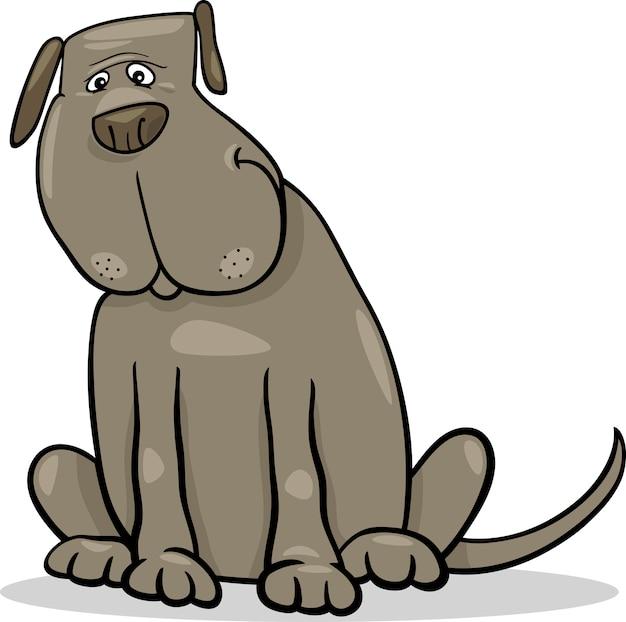 Ilustração engraçada dos desenhos animados do cão cinzento