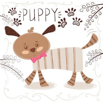Ilustração engraçada dos desenhos animados do cão