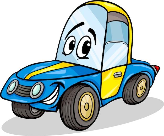 Ilustração engraçada dos desenhos animados do carro de corrida