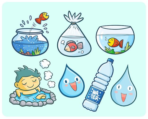 Ilustração engraçada e fofa do tema da água no estilo kawaii doodle