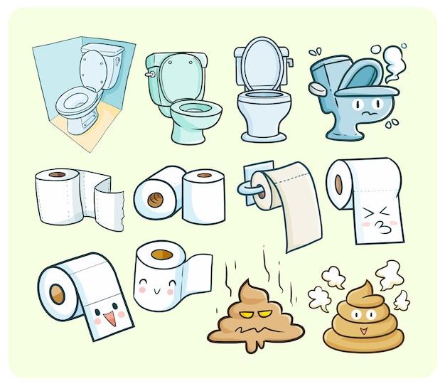 Ilustração engraçada e fofa do tema do quarto toliet em estilo kawaii doodle