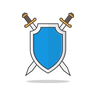 Ilustração escudo e espadas. escudo de metal com espadas cruzadas planas
