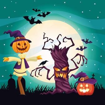 Ilustração escura de halloween com espantalho e árvore
