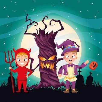 Ilustração escura de halloween com personagens disfarçados de crianças