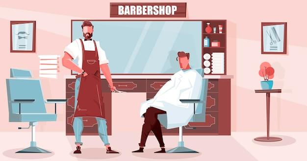 Ilustração especialista em barbearia com corte de cabelo e cosméticos