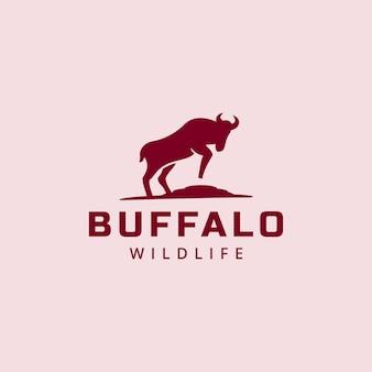 Ilustração estande búfalo silhueta animal vida selvagem sinal símbolo poder logotipo design gráfico ícone