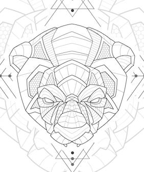 Ilustração estilizada de arte em linha zentangle animal panda