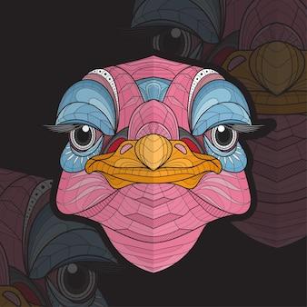 Ilustração estilizada de avestruz de coloração animal zentangle