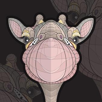 Ilustração estilizada de girafa zentangle animal colorido