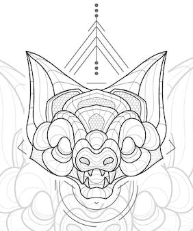 Ilustração estilizada de morcegos de arte em linha zentangle