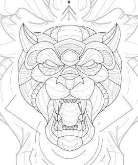 Ilustração estilizada de tigre animal em linha zentangle