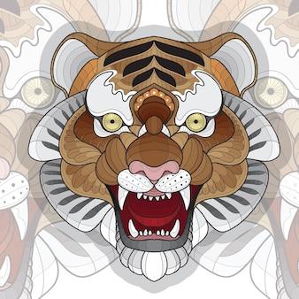 Ilustração estilizada de tigre para colorir animal zentangle