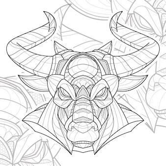 Ilustração estilizada de zentangle lineart animal touros