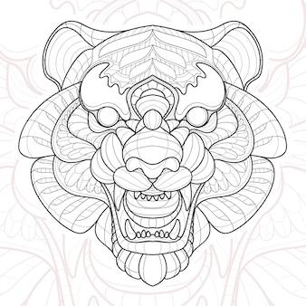 Ilustração estilizada do tigre zentangle animal.
