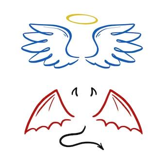 Ilustração estilizada do vetor do anjo e do diabo. anjo com asa, auréola. diabo com asa e cauda. estilo de esboço de linha desenhada de mão.
