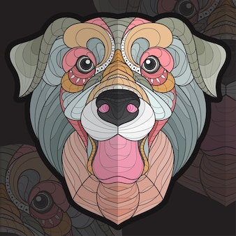 Ilustração estilizada zentangle animal coloração cachorro labrador