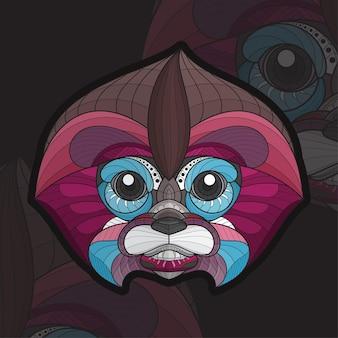 Ilustração estilizada zentangle animal para colorir bebê macaco