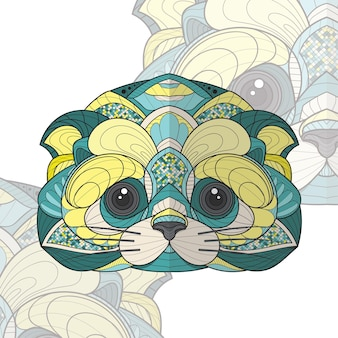 Ilustração estilizada zentangle animal para colorir
