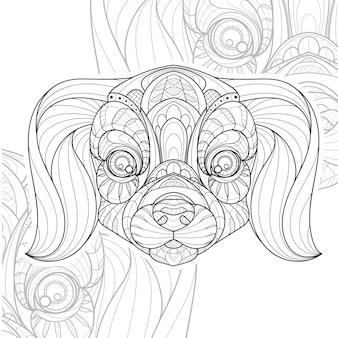 Ilustração estilizada zentangle lineart animal cachorro