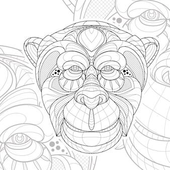 Ilustração estilizada zentangle linha arte animal gorila