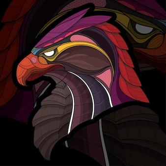 Ilustração estilizada zentangle para colorir animal águia