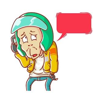 Ilustração estilo de coloração de desenho animado de táxi on-line atendendo chamada de mão desenhada