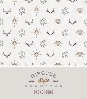 Ilustração - estilo hipster fundo sem emenda