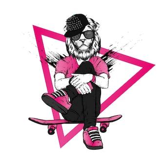 Ilustração estilosa de leão e skate