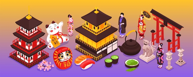Ilustração estreita de temas japoneses isométricos