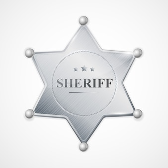 Ilustração estrela do emblema do xerife de prata com a inscrição