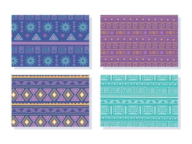 Ilustração étnica artesanal, padrão de coleção tribal boêmio decoração antiga