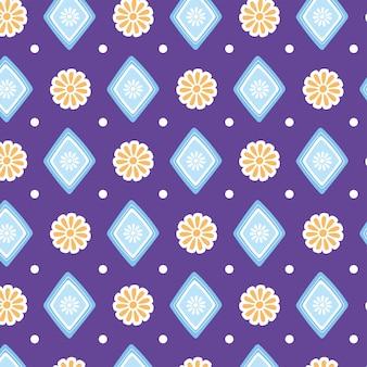 Ilustração étnica artesanal, padrão sem emenda de flores, decoração geométrica têxtil, vetorial