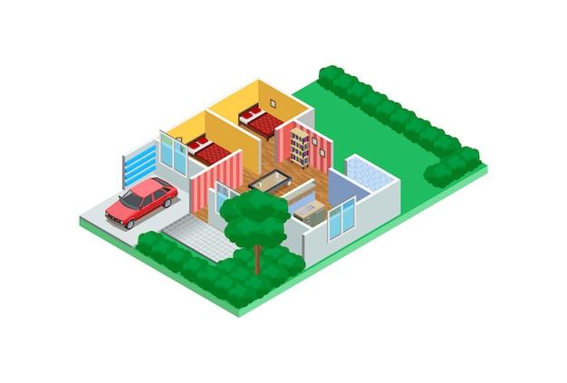 Ilustração exemplos isométricos de esboços de design para casa
