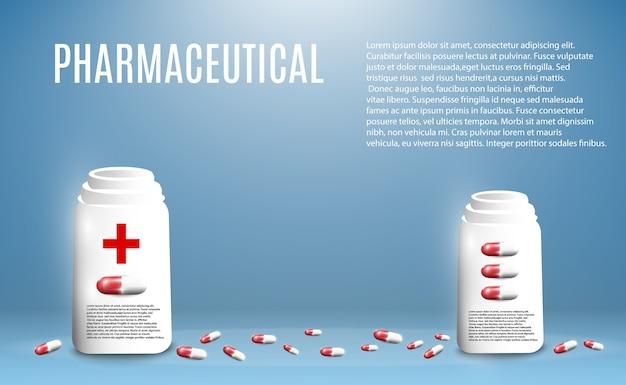 Ilustração farmacêutica de comprimidos voando para fora de uma garrafa em um fundo transparente.