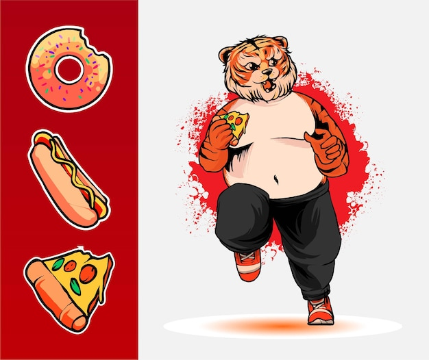 Ilustração fat tiger para design de camiseta
