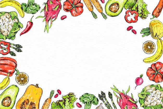 Ilustração feita à mão de frutas e vegetais