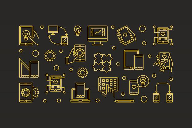 Ilustração feita com ícones de contorno de smartphone