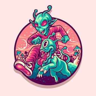 Ilustração feliz alienígena e animal de estimação